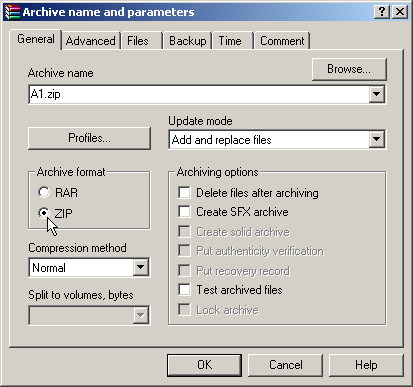Creating a zip file with WinRAR