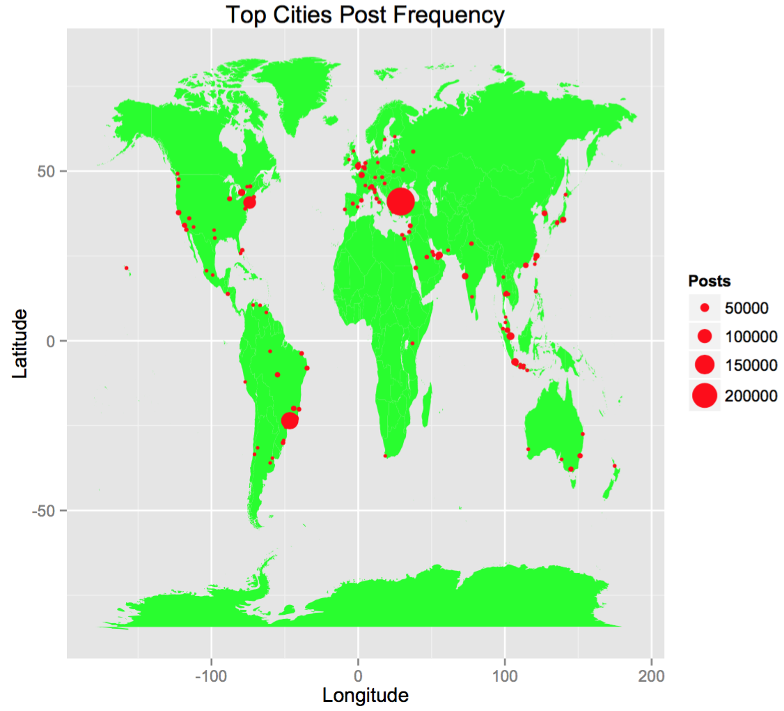 Location maps here we see the top 100 cities that post about chocolate the size of the red dots indicates the amount of posts for a one year period gumiabroncs Image collections